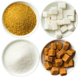 흑설탕, 백설탕, 흑각설탕, 백각설탕