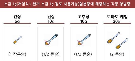 소금 1g에 해당하는 각종 양념량